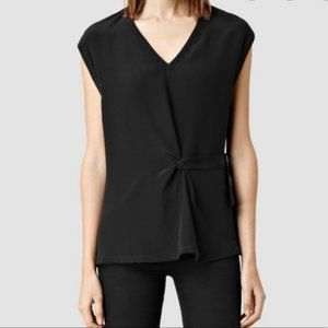 All Saints Kana Top Black Silk Blend Blouse 6